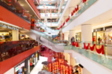 blurry view of center hall in modern shopping mall