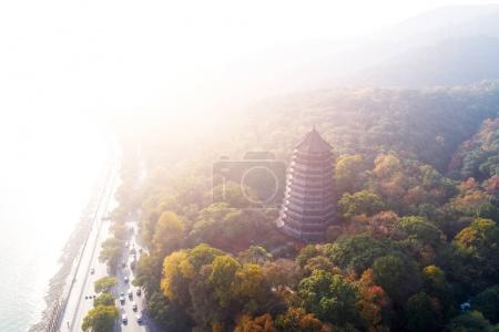 aerial view of liuheta tower near Qiantangjiang in Hangzhou in sunshine sky