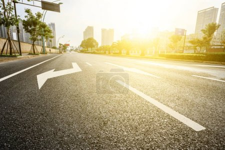 Photo for Asphalt road in modern city - Royalty Free Image
