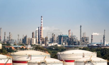 Photo for Petrochemical oil refinery and storage tanks , industrial landscape - Royalty Free Image