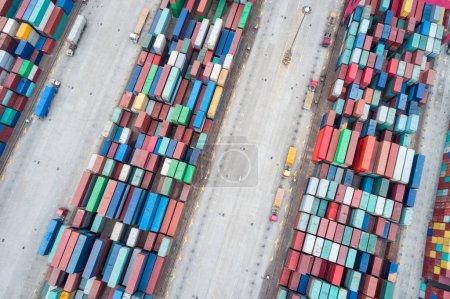 Photo for Aerial view of container stack yards, modern logistics background - Royalty Free Image