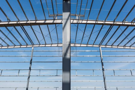 Photo for Steel structure workshop closeup , factory buildings in construction - Royalty Free Image