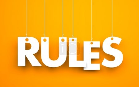 Rules - words hanging on ropes