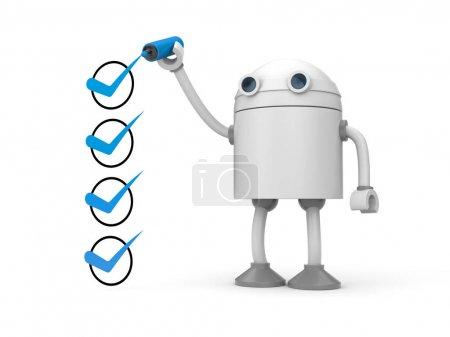 Robot y marcas de verificación verdes .