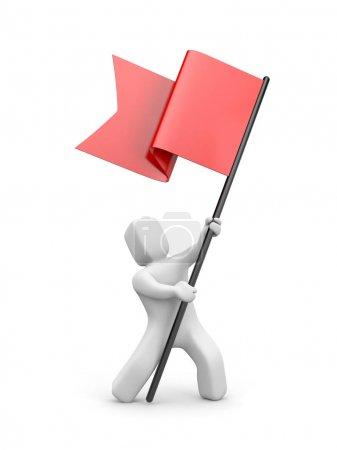 Photo pour 3D homme drapeau rouge ondulant. collection de gens 3D. illustration 3D - image libre de droit