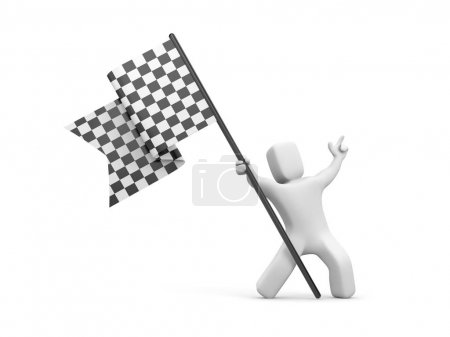 Man with black and white checkered flag