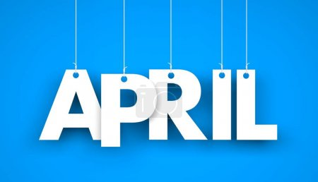 White word APRIL on blue background