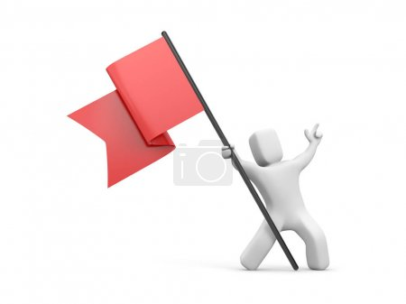 3d man waving red flag.
