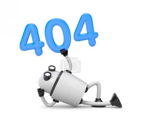 Photo pour Robot repose et tenant les numéros 404 - Page Not Found Erreur 404. Illustration 3d - image libre de droit