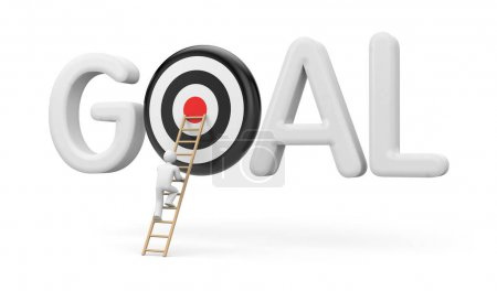 Man climbs to the target goal