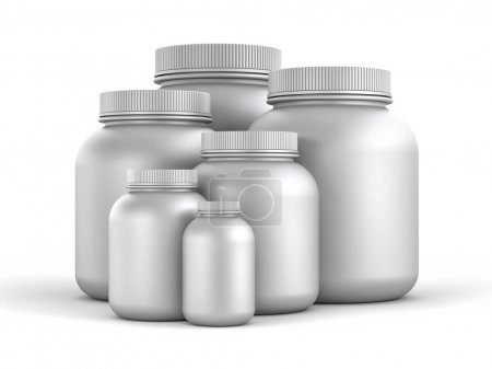 Cans of protein or gainer powder.