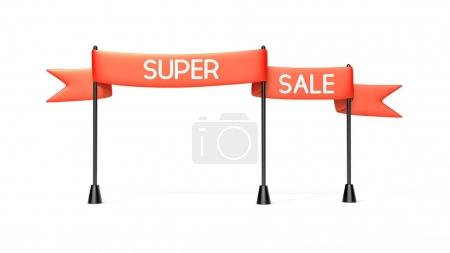 Red banner with super sale