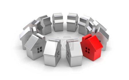 Steel figures of houses