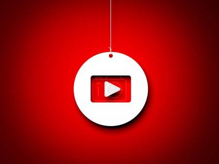 Photo pour Bouton de lecture rouge et blanc - interprétation 3D. Image rendue 3d - image libre de droit