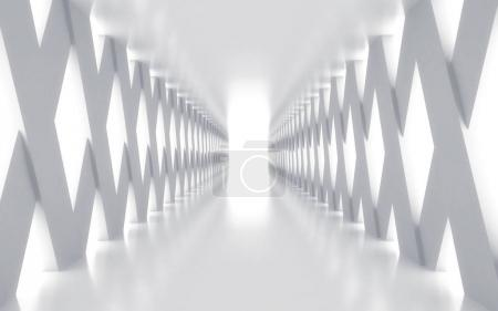 Photo for White corridor with lights, 3d rendered image - Royalty Free Image
