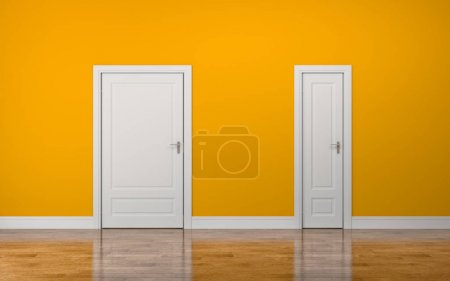 Photo for White thick and thin doors on yellow background - Royalty Free Image