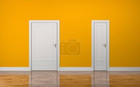 Foto de Puertas gruesas y delgadas blancas sobre fondo amarillo - Imagen libre de derechos