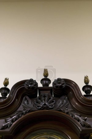 Wooden grandfather clock details