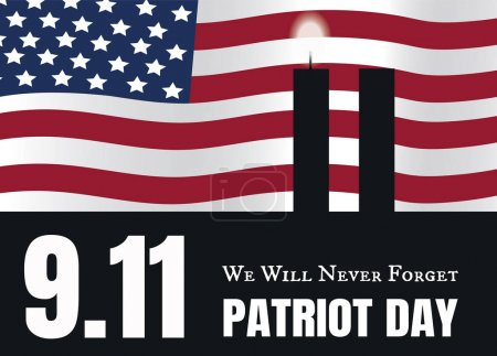 Illustration for 9.11 Patriot Day American Flag stripes background with twin towers candles . Patriot Day September 11, 2001 Poster Template, we will never forget, Vector illustration Patriot Day - Royalty Free Image