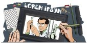 Stock illustration People in retro style Presentation template Scientist working at the laboratory Hand paints picture on tablet
