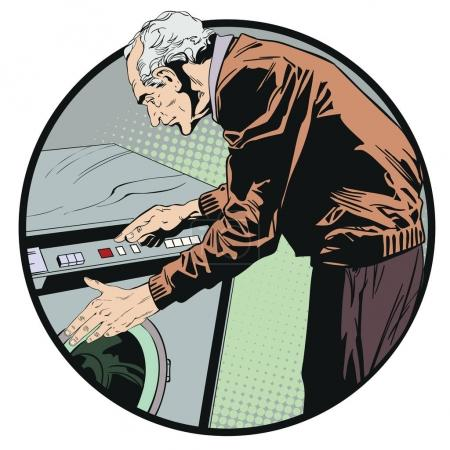 Stock illustration. People in retro style pop art and vintage advertising. Man Pressing Button Of Washing Machine.