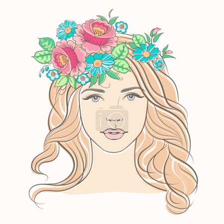 Illustration for Beautiful woman face. Portrait of a young blond woman. Fashion girl with flowers. Pretty girl with wreath of flowers in her hair. - Royalty Free Image