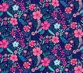 Floral seamless pattern with beautiful pink flowers Tropical design Exotic flowers and leaves Pattern for summer fashion prints Blooming jungle background Vector illustration