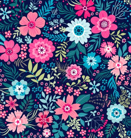 Illustration for Seamless pattern with flowers for design. Small colorful multicolor flowers on background. Modern floral background. The elegant the template for fashion prints. - Royalty Free Image