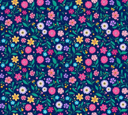 Illustration for Seamless pattern with flowers for design. Small colorful  flowers on background. Modern floral background. The elegant the template for fashion prints. - Royalty Free Image