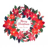 Christmas Wreath Poinsettia plants Holly red berries Decorative wreath of flowers Holiday garland festive clip art isolated on white background Merry Christmas and Happy New Year Card