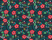 Seamless floral pattern with winter plants Winter floral background Colorful pattern with Christmas floral elements on background Holiday design for Christmas and New Year fashion prints