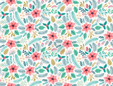 Seamless floral pattern with winter plants.