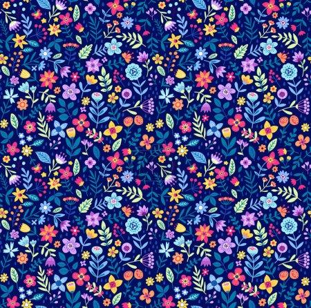 Illustration pour Mignon motif floral dans les petites fleurs. Tirage au sort. Motifs dispersés au hasard. Texture vectorielle sans couture. Modèle élégant pour les impressions de mode. Impression avec de très petites fleurs claires . - image libre de droit