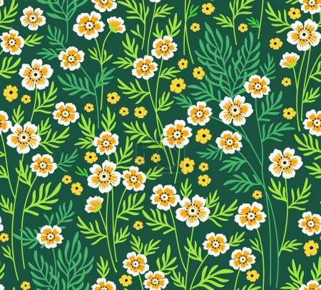 Illustration for Cute Floral pattern. Pretty flowers on dark blue background. Printing with Small-scale yellow flowers. Ditsy print. Seamless vector texture. The motif of spring flowers bouquet - Royalty Free Image