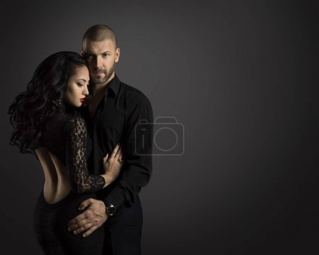 Couple Fashion Portrait, Young Man Embrace Beautif...