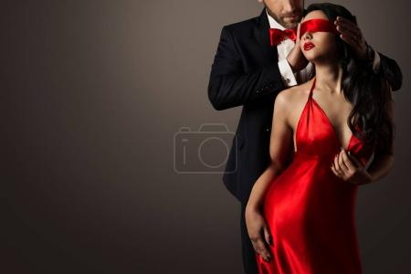 Couple Love Kiss, Sexy Blindfolded Woman Dancing i...