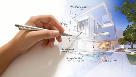 Photo for Architecture project in progress. Hand sketching on an architecture project - Royalty Free Image