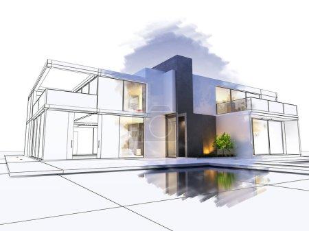 Foto de Render 3D de un chalet lujoso, en contraste con la parte técnica del proyecto - Imagen libre de derechos