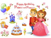 Cute birthday design elements for a party in style of the little prince and princess