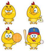 Žluté kuřátko kreslená postavička