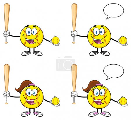 Softball Faceless Player Cartoon