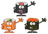 Sushi Rolls Cartoon Mascot Characters  Set Vector Collection Isolated On White