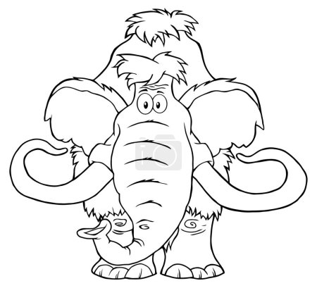 Funny Mammoth Cartoon Character