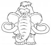 Funny Mammoth Cartoon Character Vector Illustration