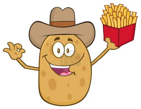 Illustration pour Cowboy Potato Character Gesturing Ok And Holding A French Fries. Illustration vectorielle isolée sur blanc - image libre de droit