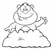 Happy Marmot Cartoon Character Waving In Groundhog Day Black and White Illustration Isolated
