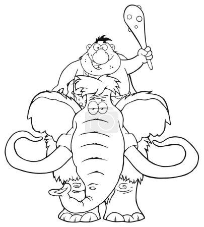 funny Caveman Over Mammoth