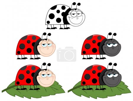 Illustration for Smiling LadyBird Cartoon Character. Raster Collection Set - Royalty Free Image