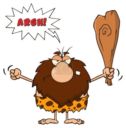 Illustration for Angry Male Caveman Cartoon Mascot Character Holding Up A Fist And A Club. Vector Illustration With Speech Bubble And Text Argh Isolated On White Background - Royalty Free Image