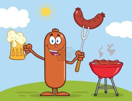 Sausage Cartoon Character